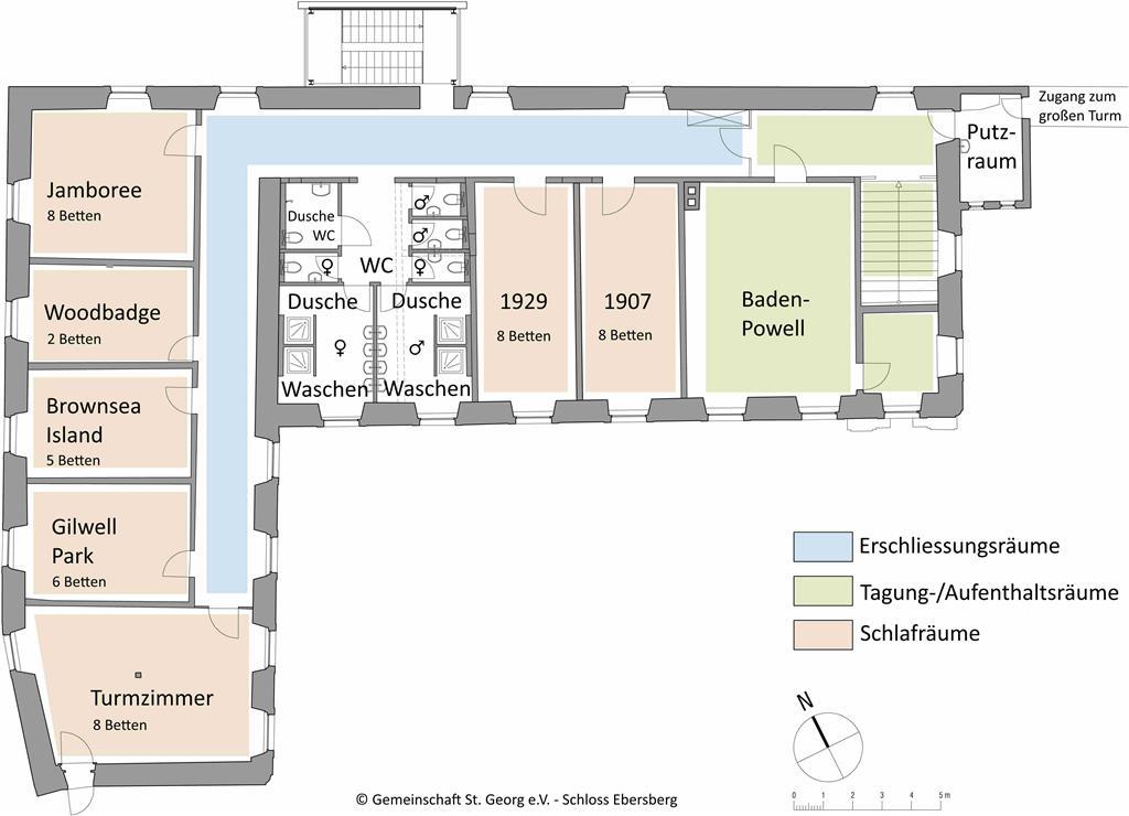 Raumplan Obergeschoss Schloss Ebersberg